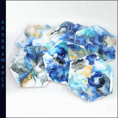 Resin Coated Blue Hexagonal Coasters