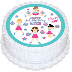Cheerleader Round Edible Icing Cake Topper - PRE-CUT - FREE EXPRESS SHIPPING