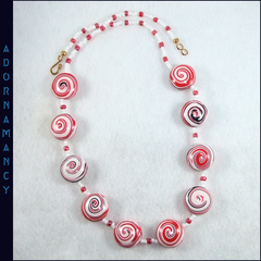 Polymer Clay Bead Necklace. Red and White swirls.