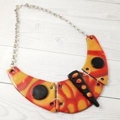 Statement Necklace - Polymer Clay Collar Cuff Bib Style Necklace Orange & Black