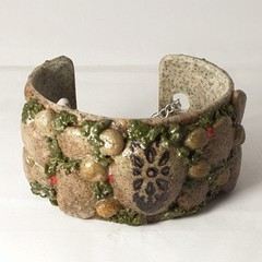 Polymer Clay Sculpted Rock Cuff Bracelet. Statement Jewellery.