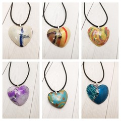 Polymer Clay Sculpted Love Heart Pendant Necklace