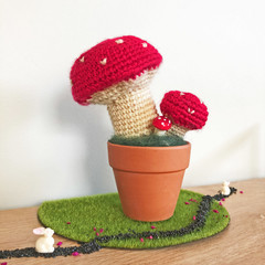 Crochet Toadstool in Terra-Cotta Pot, Potted Amigurumi Mushroom