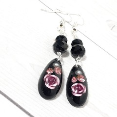 Black and Pink Roses resin teardrop earrings with swarovski crystals.