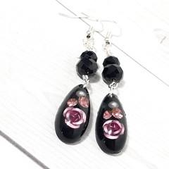 Black and Pink Roses resin teardrop earrings with swarovski crystals.