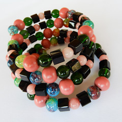 Wrap Bracelet in Wood & Glass Beads