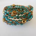 Bronze & Blue Wrap Bracelet