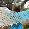 Crochet lacy cotton shawl, shawlette, scarf in turquoise, beige and cream; gift