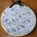 Black and White Flowers fabric frame