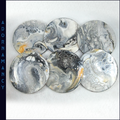 Set of 6 Resin Coated Round Coasters: Black, Silver & Gold
