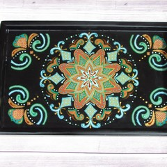 Coffee lovers gift,Wood serving tray with handles,Hand painted serving platter,B