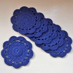Set of 6 Crochet Cotton Coasters - Marine Blue