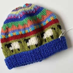 Blue 'Sheep' Beanie - to fit approx size 3-8 years - hand knitted
