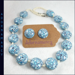 Polymer Clay Necklace & Earrings: Blue Shades