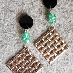 Brianna Geometric Silver and Green Beaded Earrings