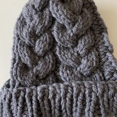 Grey knitted beanie girls or boy 8-12 years old merino
