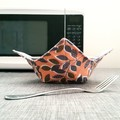 Hot Bowl Cozy | Hot Bowl Holder | Orange and Grey | Reversible | Free Shipping