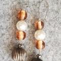 Lee Pink And Pearl Beaded Art Deco Earrings