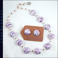 Polymer Clay Necklace & Earrings: Purple Shades