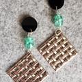 Brianna Geometric Silver and Green Beaded Earrings