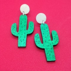 Wooden cactus earrings