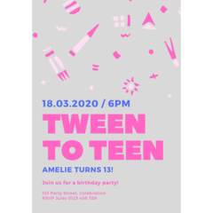BIRTHDAY INVITATION - CUSTOMISED PRINTABLE DOWNLOAD, TWEEN BIRTHDAY