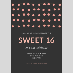 BIRTHDAY INVITATION - CUSTOMISED PRINTABLE DOWNLOAD, SWEET 16TH BIRTHDAY