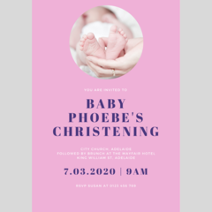 INVITATION - CUSTOMISED PRINTABLE DOWNLOAD, BABY'S CHRISTENING