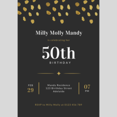 BIRTHDAY INVITATION - CUSTOMISED PRINTABLE DOWNLOAD, 50TH BIRTHDAY
