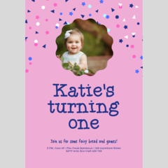 BIRTHDAY INVITATION - CUSTOMISED PRINTABLE DOWNLOAD, GIRL BIRTHDAY (PHOTO)