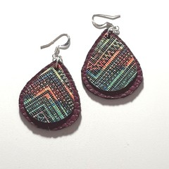 Purple and multi colour leather Earrings Dangle Tassel Drop Fringe Boho
