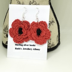 Crochet poppy earrings Red
