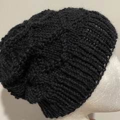 Black alpaca mens slouchy beanie diamond pattern unisex