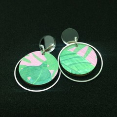 Pink/green monstera leaf  printed earrings