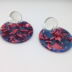 Mottled blue/red acrylic earrrings with silver mirror tops
