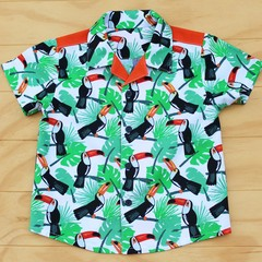 Boy's Button up Shirt - Optimum Orange Toucans - Size 4
