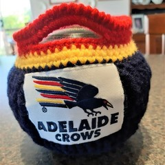 Free Postage HAND CROCHET ADELAIDE CROWS LAWN BOWLS BUDDIES/BEANIES Set of 4