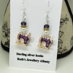 Sewing machine earrings purple