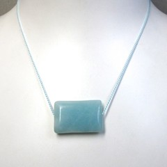 Simplicity- Amazonite bead on short silk necklace