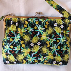Yellow Gum blossom large Carpetbag with crossbody strap