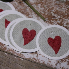 12 Valentine's Day Tags Red Heart Gift Tags Florist Gift Tags Red Heart Tags