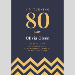 BIRTHDAY INVITATION - CUSTOMISED PRINTABLE DOWNLOAD, 80TH BIRTHDAY