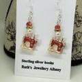 Sewing machine earrings Red