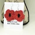 Crochet poppy earrings Red