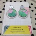 Pink/green monstera leaf  printed earrings