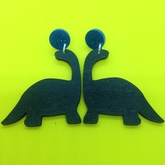 Wooden black dinosaur earrings