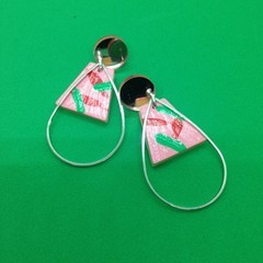 Handpainted green/red/pink/red earrings