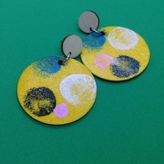 Handpainted yellow/black/pale pink/ blue earrings