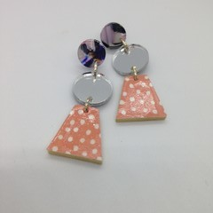 Triple layer with apricot/white/silver/blue/purple/ white  earrings