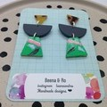 Triple layer with grey/ green/pink:black/ pale blue earrings